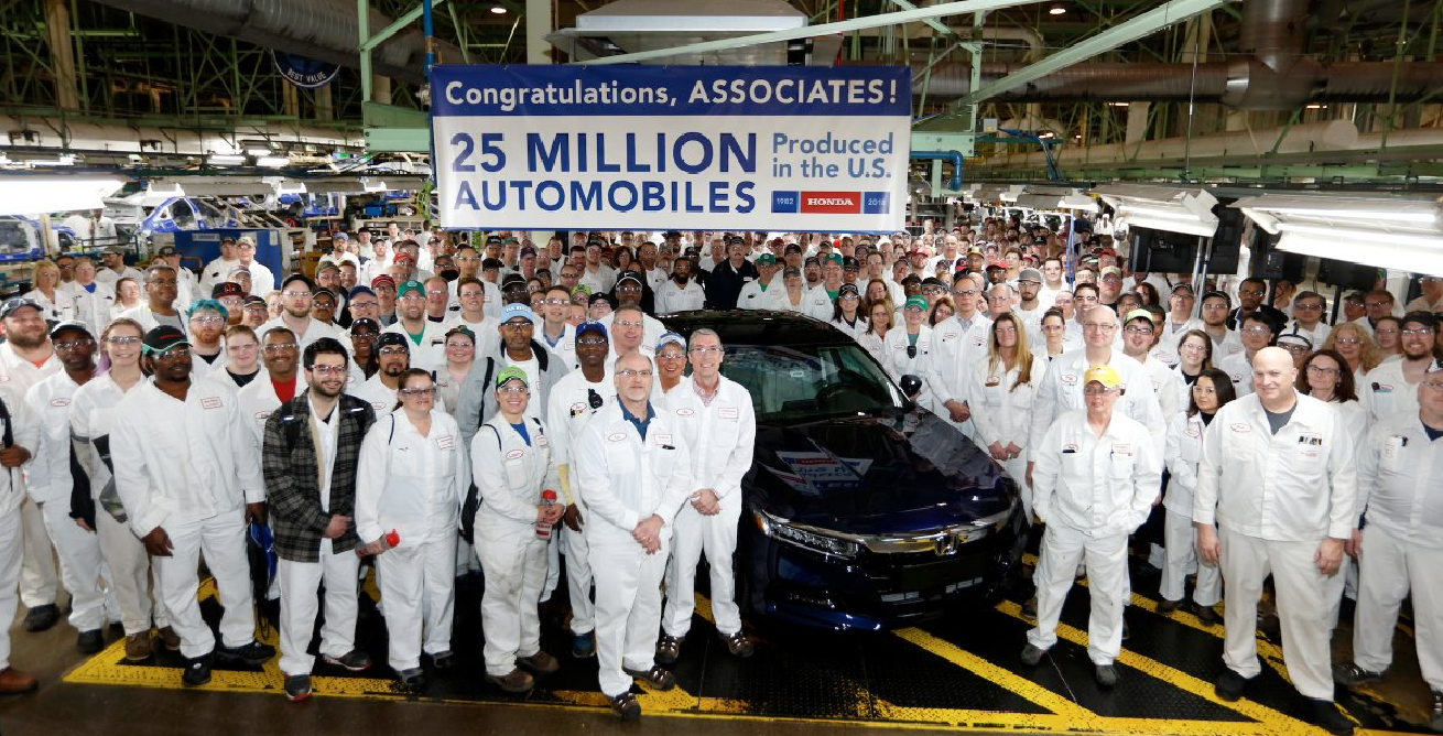 Honda Builds Its 25 Millionth Automobile In The U S